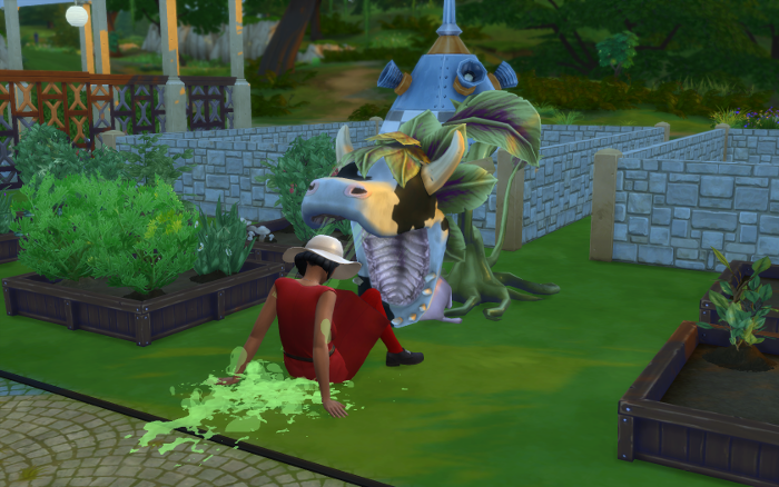 The cowplant spits the sims out. Kierra is alive, but covered in green spit.
