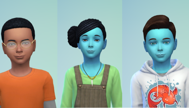 CAS pics of Bane (dark skinned with short buzz cut), Ivy - blue with long braids, and Luthor blue with a preppy haircut and a sweatshirt.
