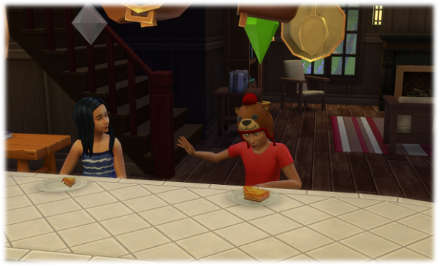 Little Harley and Michel sit at the cabin bar chatting.