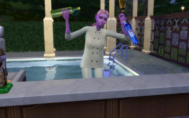 Mina juggles bottles at the bar.