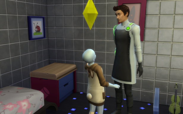 "These first pictures may be familiar since they were used in Penelope's ""packing for camp"" post. In this picture, Penelope looks up at her father. She is wearing her rabbit sleeping pajamas. He is wearing his white scientist uniform."