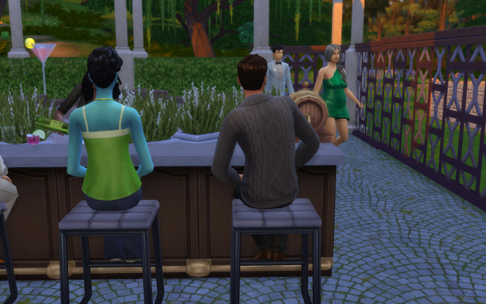 Ivy and Corbin sit at the bar. In the distance two sims walk their way. A young man in a tux, and a grey-haired lady in a green dress.