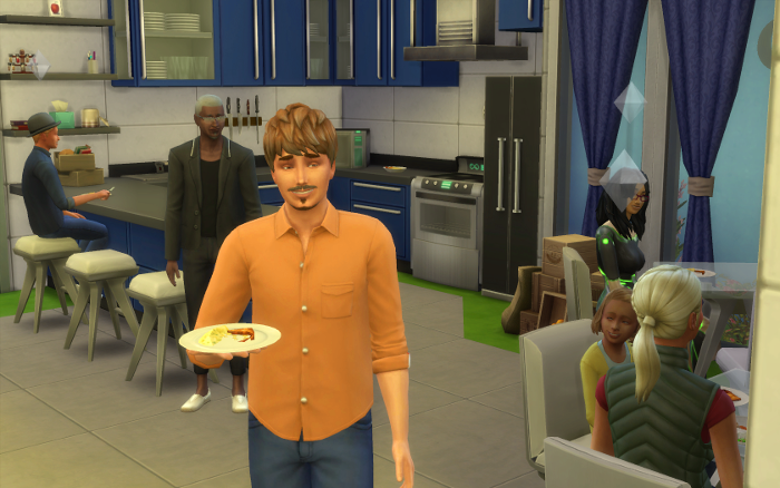 A more recent snapshot of ship live. Amelia is sitting eating breakfast with her mother. Both the Captain and her husband are older now. Samuel and George are in the background. (Electra and Al not pictured).