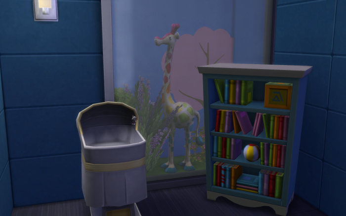 Yes, this is Amelia's room. There's a crib and bookcase. But no child yet.