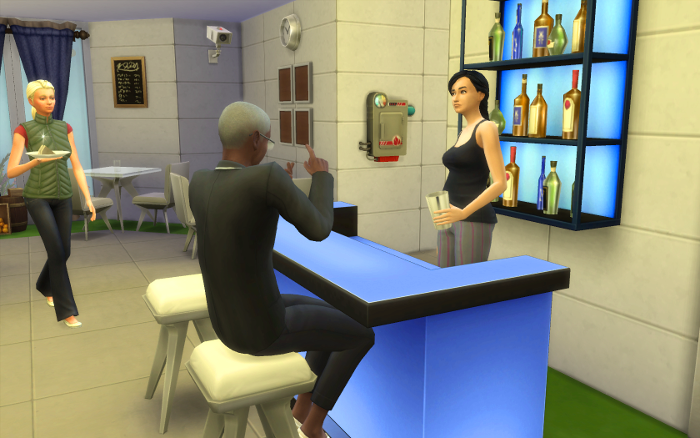 George Winter talks to the captain at the bar. Grace goes to meet this new crew member.