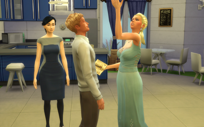Gracie, in her blue wedding gown, recites her vows to Samuel as the captain presides over the living room ceremony.