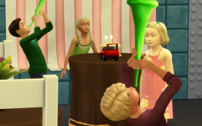 Birthday party scene with four children. Grace blows out the candles, while two boys blow horns. Samual is in the foreground with blond hair.