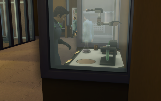 "Cocoa makes a serum in the lab. He's wearing his ""black"" uniform since he's a level 9 scientist here."