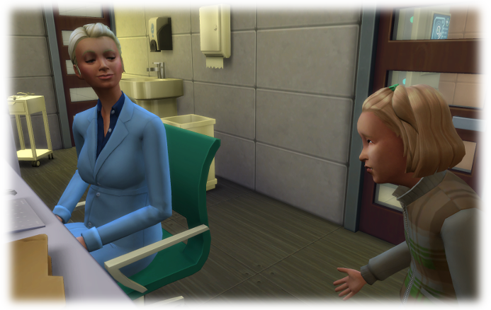 Amelia looks concerned as she speaks to her mother in the medical bay. Her mother wears a lab coat.