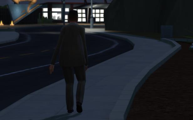 Bane walks tiredly home. The sidewalk seems endless.