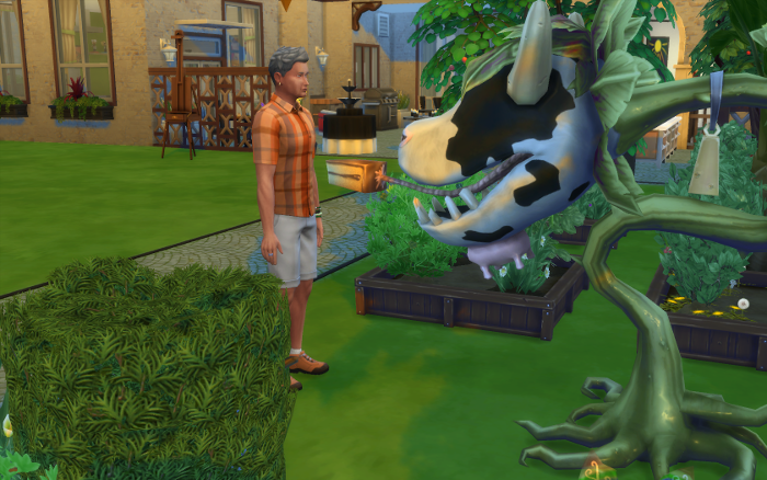 Michel approaches the cow plant and stares down the eyeless thing.
