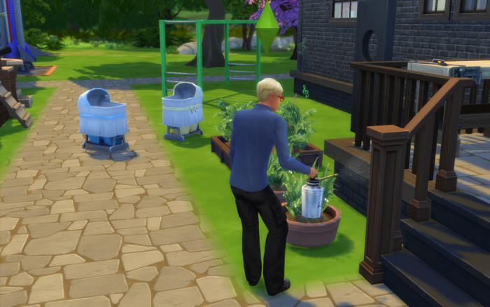 Meteor tends the garden outside the (old) Pigglewiggle house. Two bassinets are nearby in the sun. I like taking the babies outside when I can since they're locked in their cribs. (Here's to hoping!)