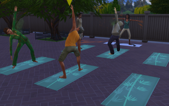 Outside at the revamped Willow Creek gym, there is a yoga class. Michel looks rather stiff.