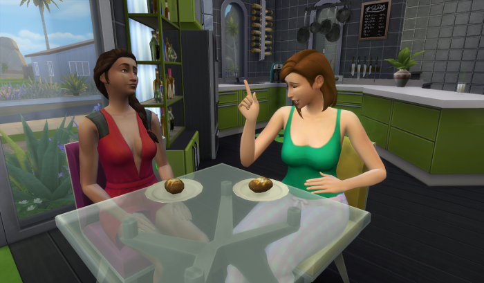 Nebula and Nova sit at the kitchen table in their pajamas, also eating the ever popular baked potato breakfast. Nebula's dark hair is braided and she wears her red pjs and a smile while listening to Nova (in her green and pink - duh) pjs who is talking.