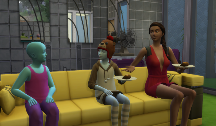 Nebula sits down on the couch with Penelope and onezero.