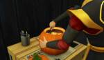 Cocoa (a ninja elite) empties the pumpkin