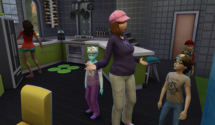 In the kitchen back home, Nova greets the kids - in the background Nebula is tossing knives while she cooks.
