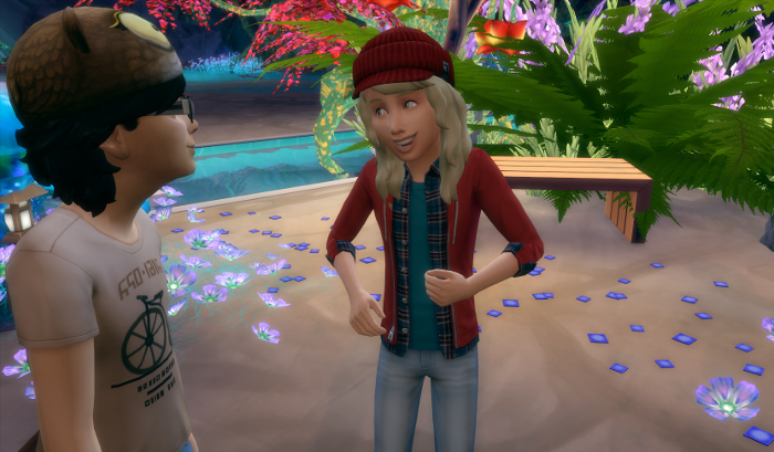 The children (Emelia and Free-Jon) are talking to each other. Free is back in his owl hat and Emelia in her iconic red cap. Emelia is speaking in this picture. She looks like shes trying to make the best of the situation.
