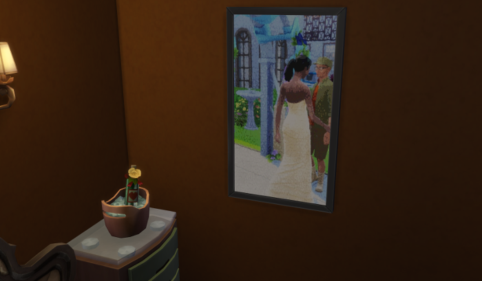 Michel's better picture hangs in the couple's bedroom. I'm actually quite happy with it's composition. The bridge is holding Bane's hand tenderly. The wedding arch behind them.