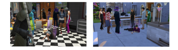 "On the left is Alicia's death in the kitchen, the right the ""A"" guy's death on the back patio."