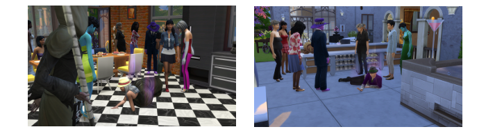 """On the left is Alicia's death in the kitchen, the right the """"A"""" guy's death on the back patio."""