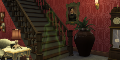 A hotel lobby, red wallpaper, wooden stairs, a large plant in a pot, a framed picture of a woman, and a blurry green figure that appears to be of a woman.