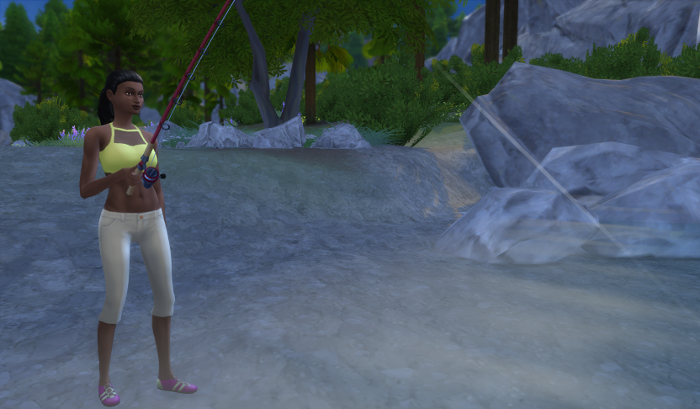 Connie in her chic athletic wear, fishes in the deep woods.