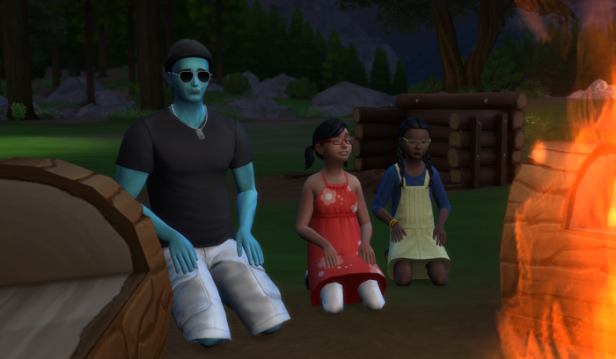 Luthor and the twins kneal in the ground before the fire. Why do they refuse to roast marshmallows from the nearby logs like sensible people?