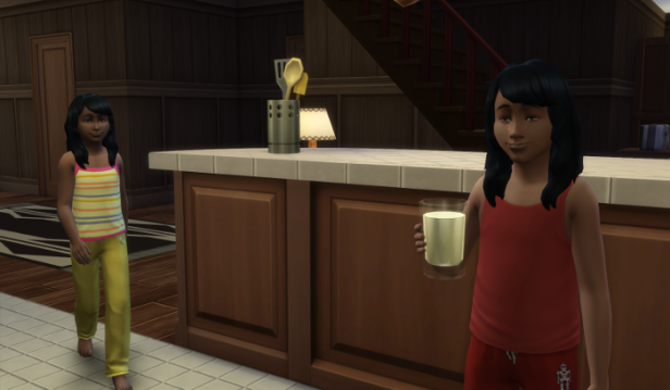 This is mainly to show that the girls have the same haircut when they go to bed. And no glasses. Elleanor (yellow) is walking up to Arianne (in red) who holds a glass of milk.
