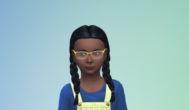 Elleanor has longer hair in braids, wears a yellow overall dress and yellow glasses.
