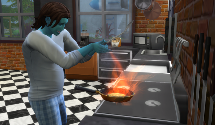 Luthor is hitting a roaring stove fire with a spatula. (Don't worry he got it out before the house burned down.