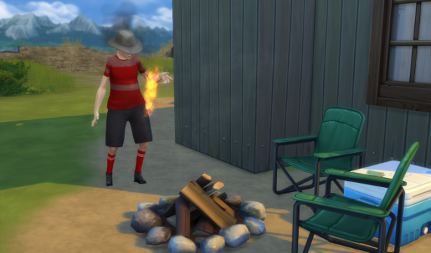 (Because in this picture the tent is gone...oops!) Anyway here Arturo has set his arm on fire trying to the light fire pit.