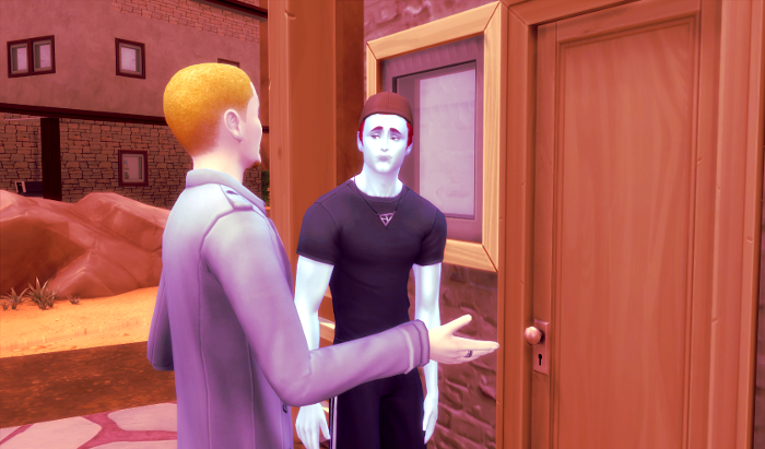 Adam stands (tiredly) in front of his door. Another man, blond is showing him around.