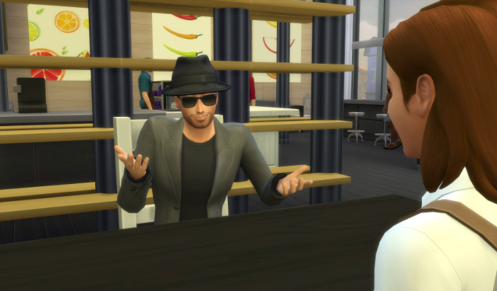 Guy is talking to Nova. Behind them is a restaurant. Guy is wearing sunglasses and a hat...he doesn't look suspicious at all.