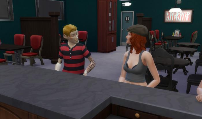 Arturo sits next to Bella at the bar.