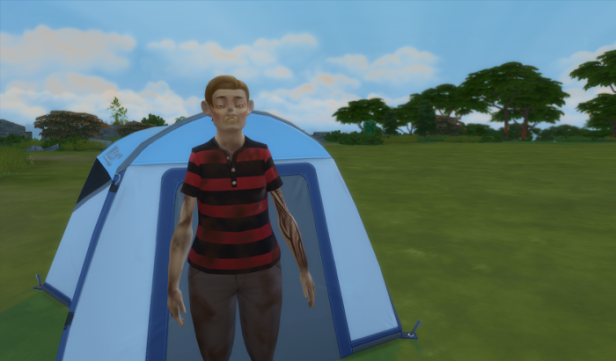 Arturo stands in front of his tent in the early morning. He's frowning becuase he is covered in dirt.