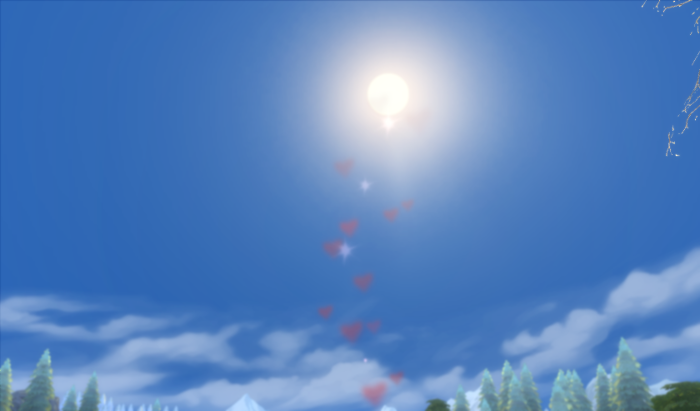 Last photo of the blue blue sky, the sun, and a small trail of hearts and sparkles.