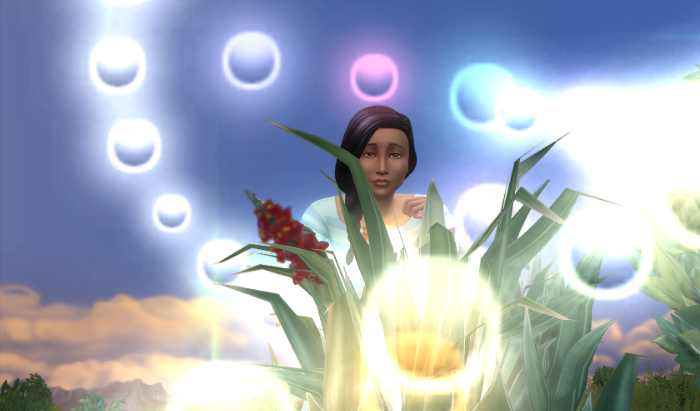 "Chana looks down at the camera and the plant bubbles of light from ""evolving"" the plant surround her."