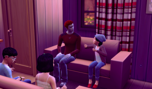 Adam sits on the couch, the three kids surround him.