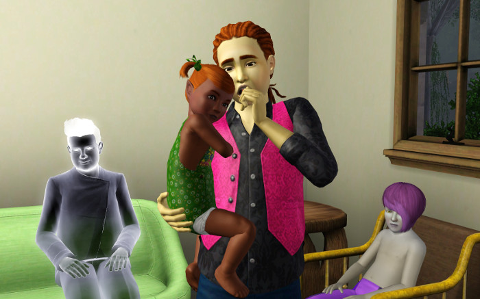Here we have teenager Harold (3) holding little Shirley (9) and behind them sits Joseph (5). The ghost is a random dude who died on the lot.