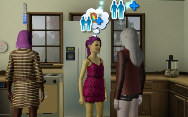 Cynthia (Harold's twin) is asking her dad Michael about art. Melville is attempting to cook.