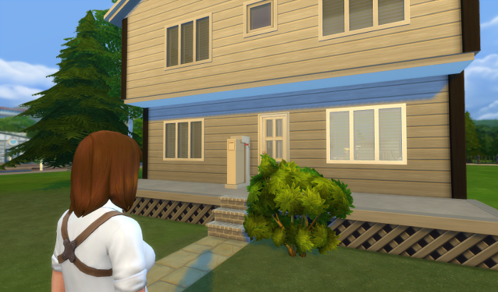 Nova stands in front of a dull looking house.