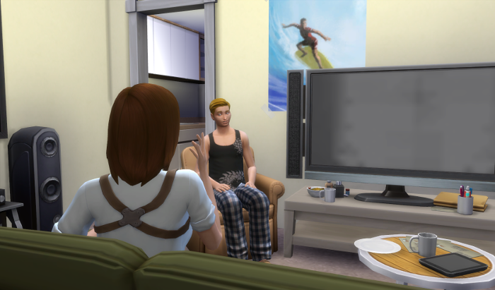 Nova questions James. James's house might be shabby, but there's a nice big TV and a tablet on the coffee table.