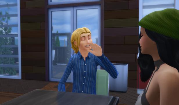 Sam greets Makayla inside the cafe.