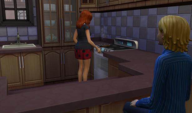 In Stefanie's (Bella's daughter) house, Sam watches her prepare dinner.