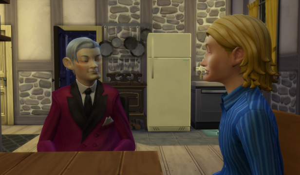 Sam and Arturo (in formal wear) chat at the kitchen table.