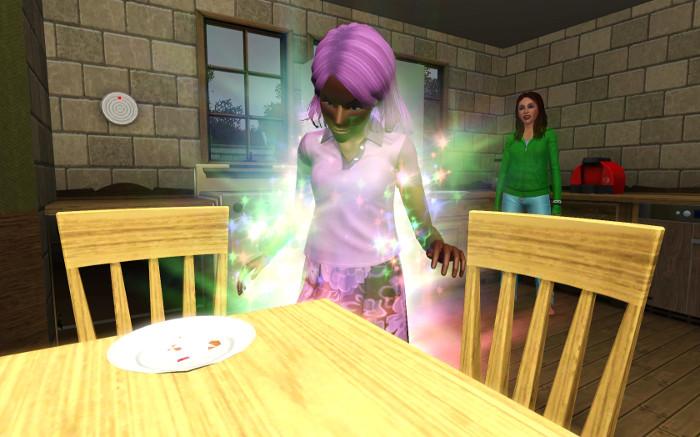 Rebecca sparkles at the kitchen table, Cheri watches.