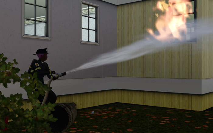Melville puts out a window fire so he can rush in and rescue the sims inside.
