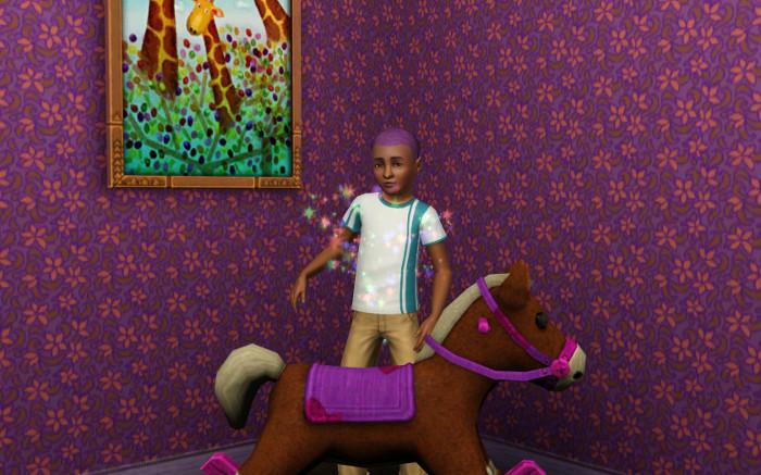 Basil sparkles behind the horse.