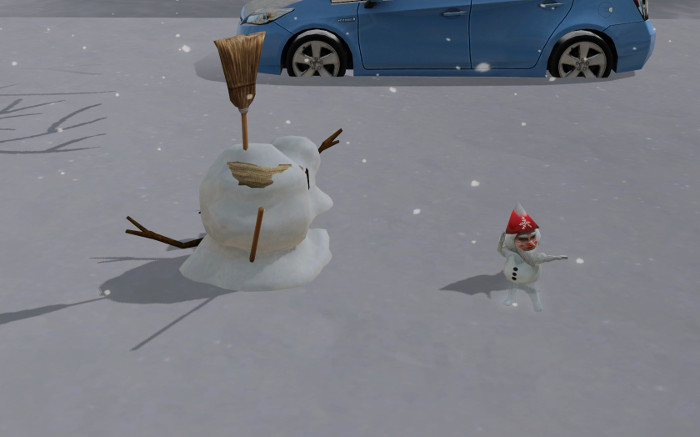 We got a snow gnome?! All this autonomous snowmen-building is good for something.